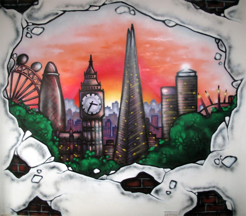 London cityscape london graffiti mural artist for Cityscape mural